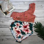 Stripe Floral One Shoulder Bikini Set
