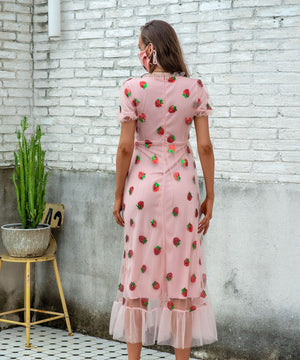 Sequins Strawberry Grenadine V Neck Dress
