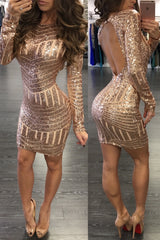 Sequins Open Back Bodycon Dress