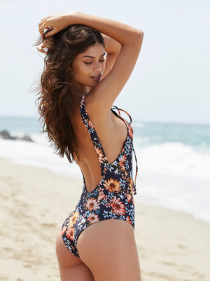 Floral Backless Lace Up Swimsuit, bikini, VIVIMARKS