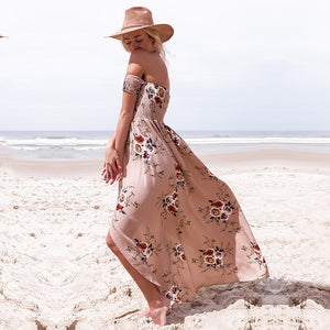 Off The Shoulder Floral Slit Dress, dress, VIVIMARKS