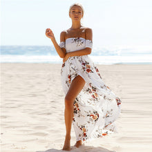 Load image into Gallery viewer, Off The Shoulder Floral Slit Dress, dress, VIVIMARKS