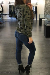 Camouflage Print Lace Up Top
