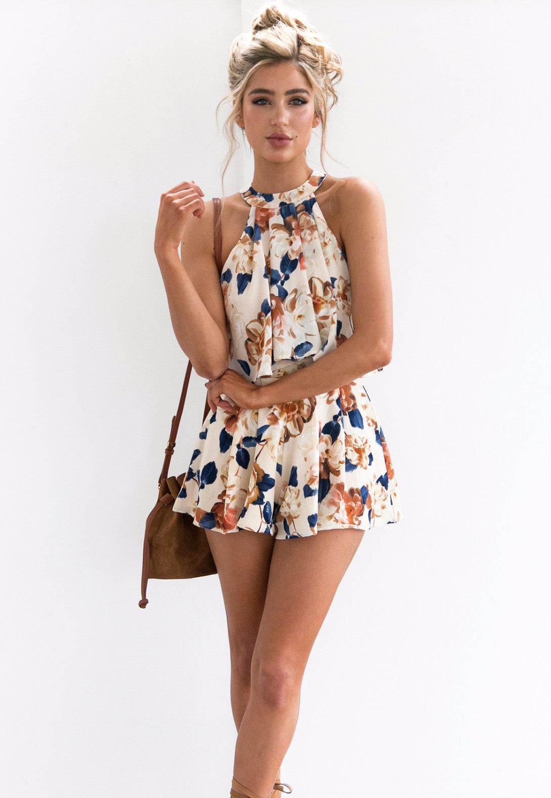 Floral Top And Shorts Two Pieces Set, two pieces, VIVIMARKS