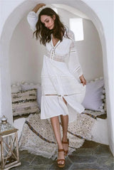 White Lace Front Buttons Dress