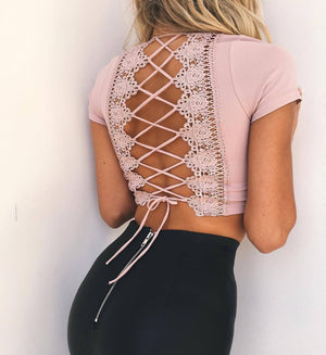 Lace Up v Neck Lace Top, top, VIVIMARKS