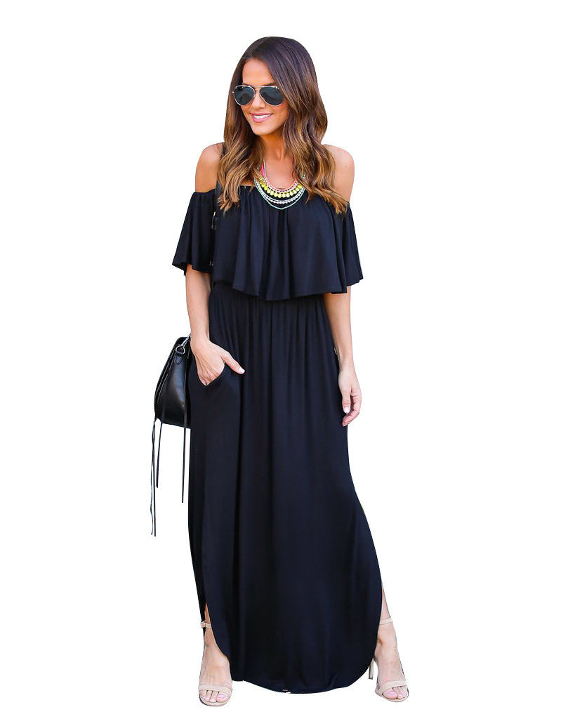Off The Shoulder Maxi Dress, dress, VIVIMARKS