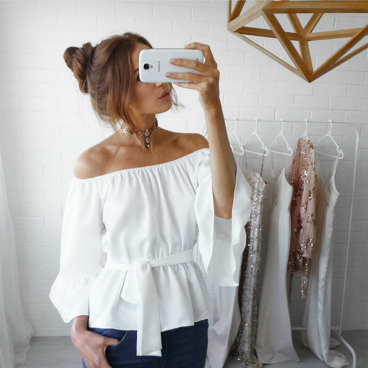 Off The Shoulder Chiffon Top, top, VIVIMARKS
