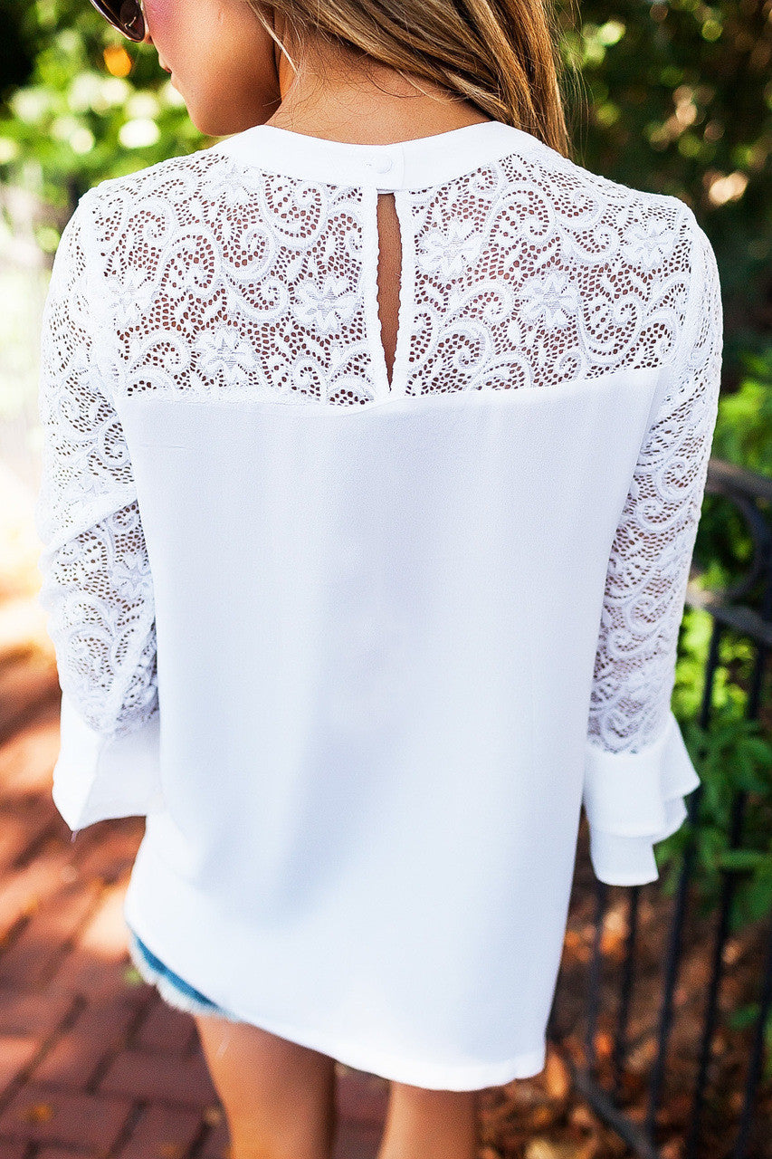 Three Quarter Sleeve Lace Splicing Top, top, VIVIMARKS