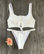 Solid Color Front Buttons Bikini Set