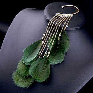 Green Feather Earrings, ACCESSORIES, VIVIMARKS