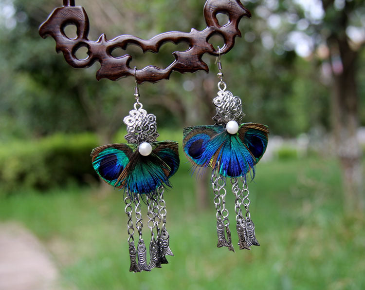 Peacock Feathers Earrings, ACCESSORIES, VIVIMARKS