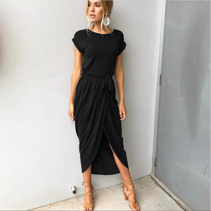 Casual Short Sleeve Irregular Dress, dress, VIVIMARKS