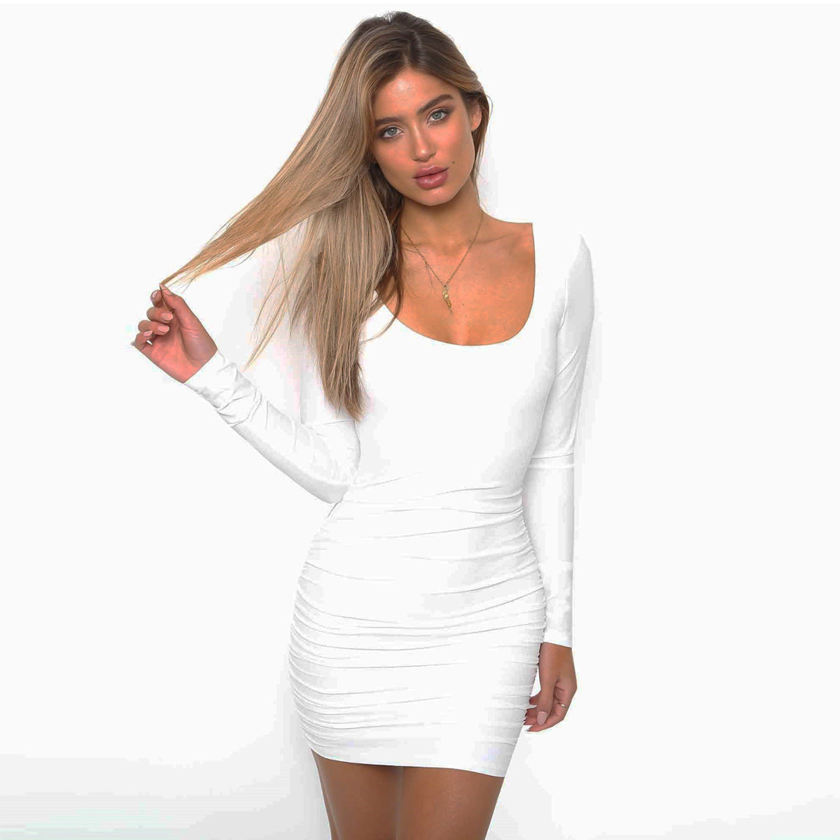 Long Sleeve Open Back Bodycon Dress, dress, VIVIMARKS