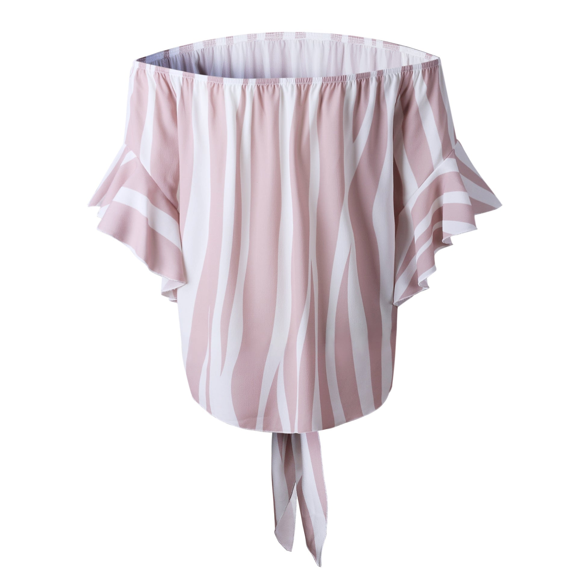 Stripe Off The Shoulder Chiffon Top