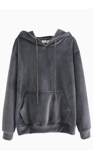 Velvet Hooded Sweatshirt