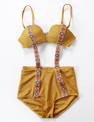 Grenadine Splicing Bikini Set