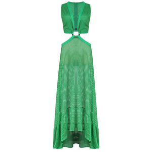Hollow Out High Low Maxi Dress