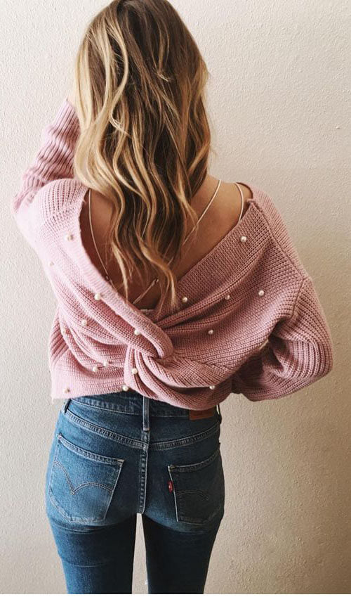 Back Cross Pearls Sweater
