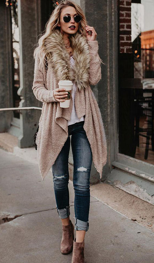 Casual Fur Collar Cardigan