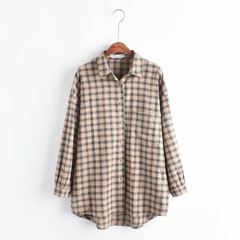 Checked Print Long Sleeve Shirt