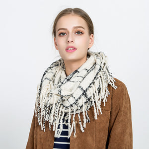Checked Tassel Scarf