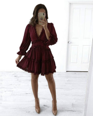 Chiffon Deep V Neck Backless Dress