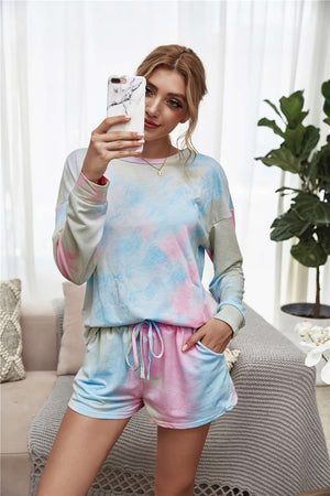 Colourful Tie-dye Long Sleeves Top And Shorts Two Pieces Set