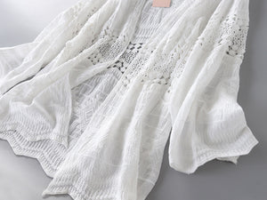 Cotton Hollowing Out Cardigan