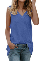 Cotton Sleeveless V Neck Top