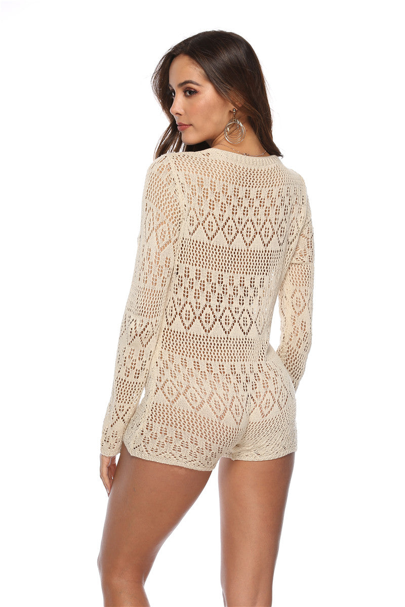 Crochet Deep V Neck Romper