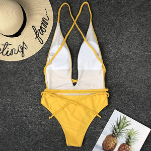 Deep V Neck Backless Bikini Set