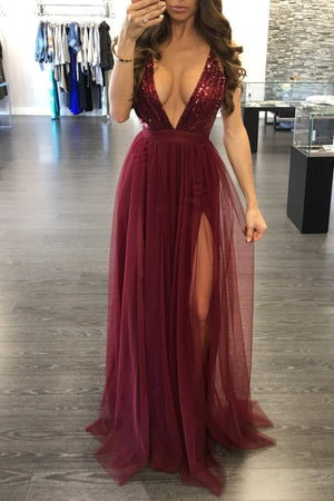 Deep V Neck Sequins Slit Maxi Dress