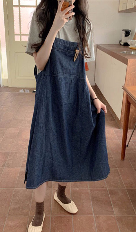 Denim Dress And Casual Top Two Piece Set