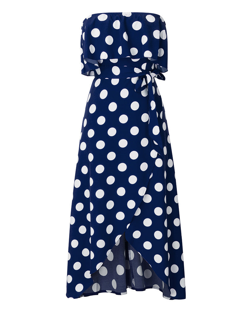 Dots Flounce Slit Dress