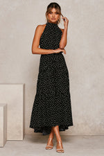 Dots Print Sleeveless Maxi Dress