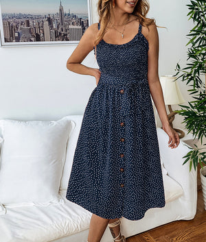 Dots Print Front Buttons Dress