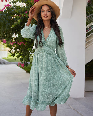 Floral Deep V Neck Chiffon Dress
