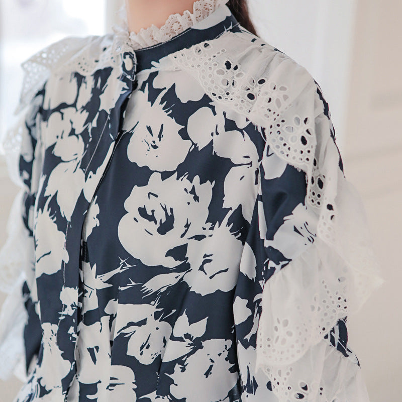 Floral Lace Splicing High Low Blouse
