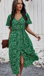 Floral V Neck Front Buttons Dress