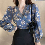 Floral V Neck Lace Splicing Chiffon Top