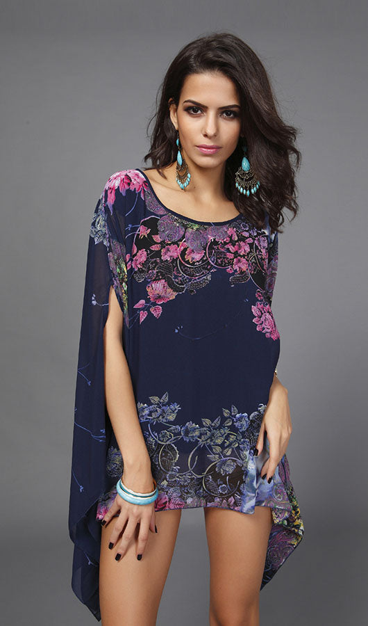 Floral Bat Sleeve Chiffon Top
