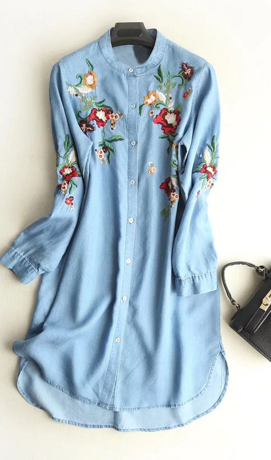 Floral Embroidery Blue Jeans Dress