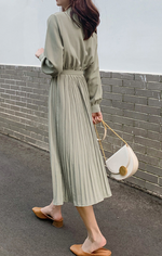 Folded Chiffon Long Sleeve Dress