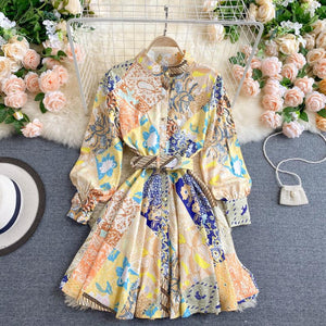 Front Buttons Floral Dress