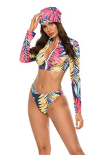 Front Zipper Three Pieces Bikini Set