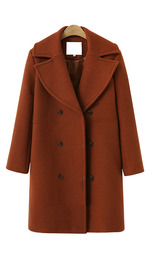 Front Buttons Woolen Coat