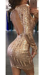 Sequins Open Back Bodycon Dress, dress, VIVIMARKS