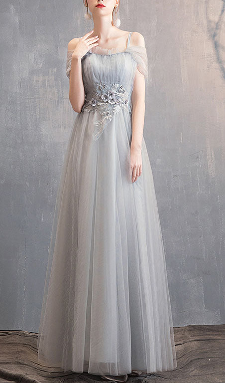 Gray Evening Party Dress