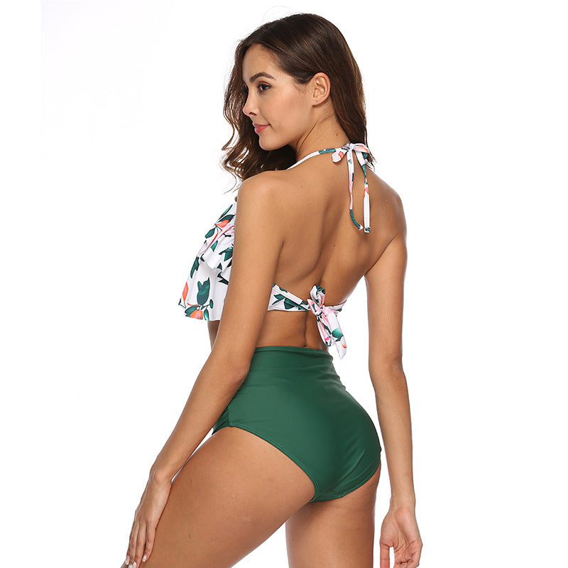 High Waist Floral Halter Bikini Set